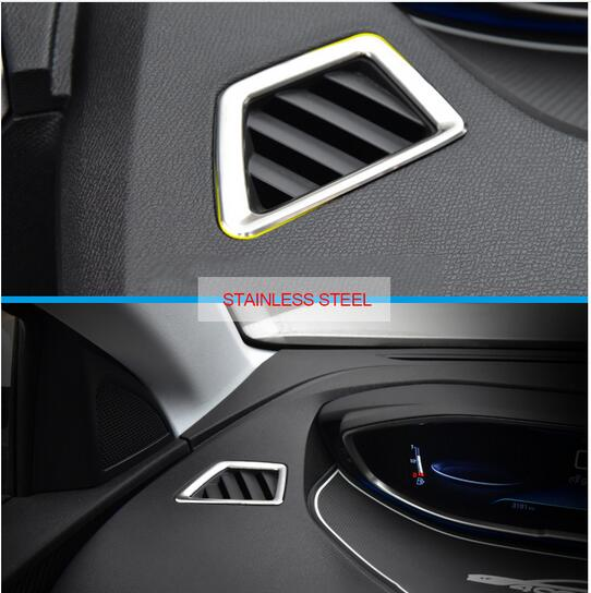 Left Hand Drive Car! For Peugeot 3008 GT 2016 2017 2018 Interior Car Styling Stainless Steel Front Upper Air Cover Trim 2pcs