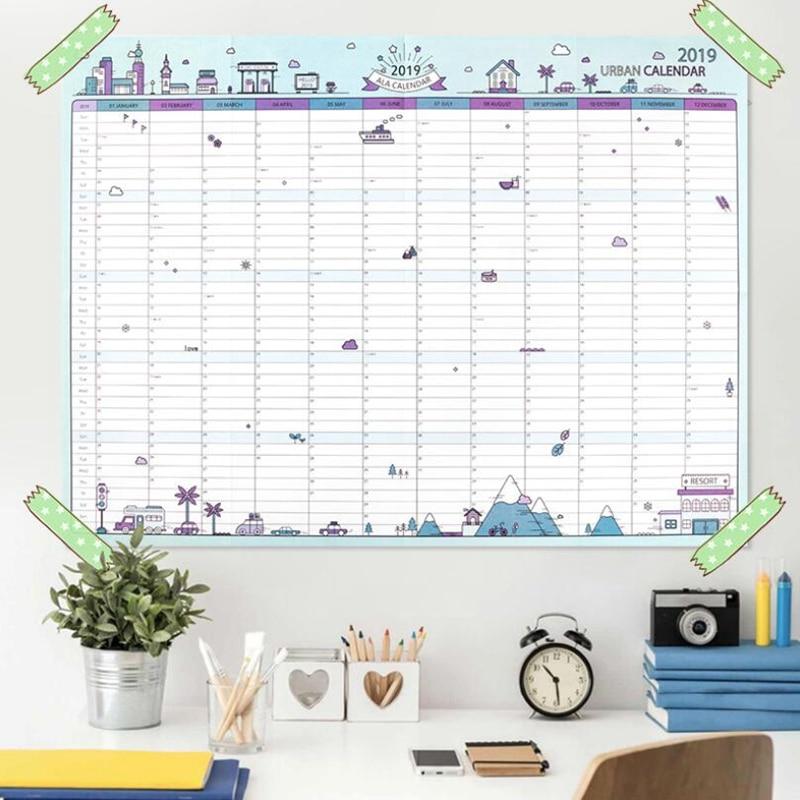 Kalender, Planer Und Karten Sehr Große Studie Neue Jahr Plan Zeitplan 43*58 Cm Ausdrucksvoll 2019 365 Tage Papier Wand Kalender Büro Schule Tägliche Planer Hinweise