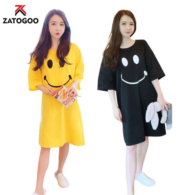 2019 Cute Girl Nightdress Cartoon Smile Face Lovely Soft Cotton Sleep Dress Teenager Nightgown Haft Sleeve Homewear Black Yellow