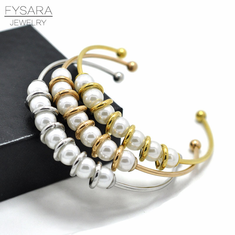 FYSARA SimulatedPearl Jewelry Stackable Bracelet Bangle Jewelry Stainless Steel GoldColor Cuff Bangle Pulseira