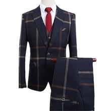 Men Suit With Pants 2 Pieces Classic Grey Navy Plaid Tuxedo Business Casual Grooms Wedding Suits for Men Plus 6XL