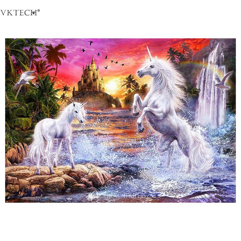 Two White Horse Diamond Embroidery 5D Diamond Painting Rhinestones Cross Stitch Craft Mosaic Pictures Wall Stickers Home Decor