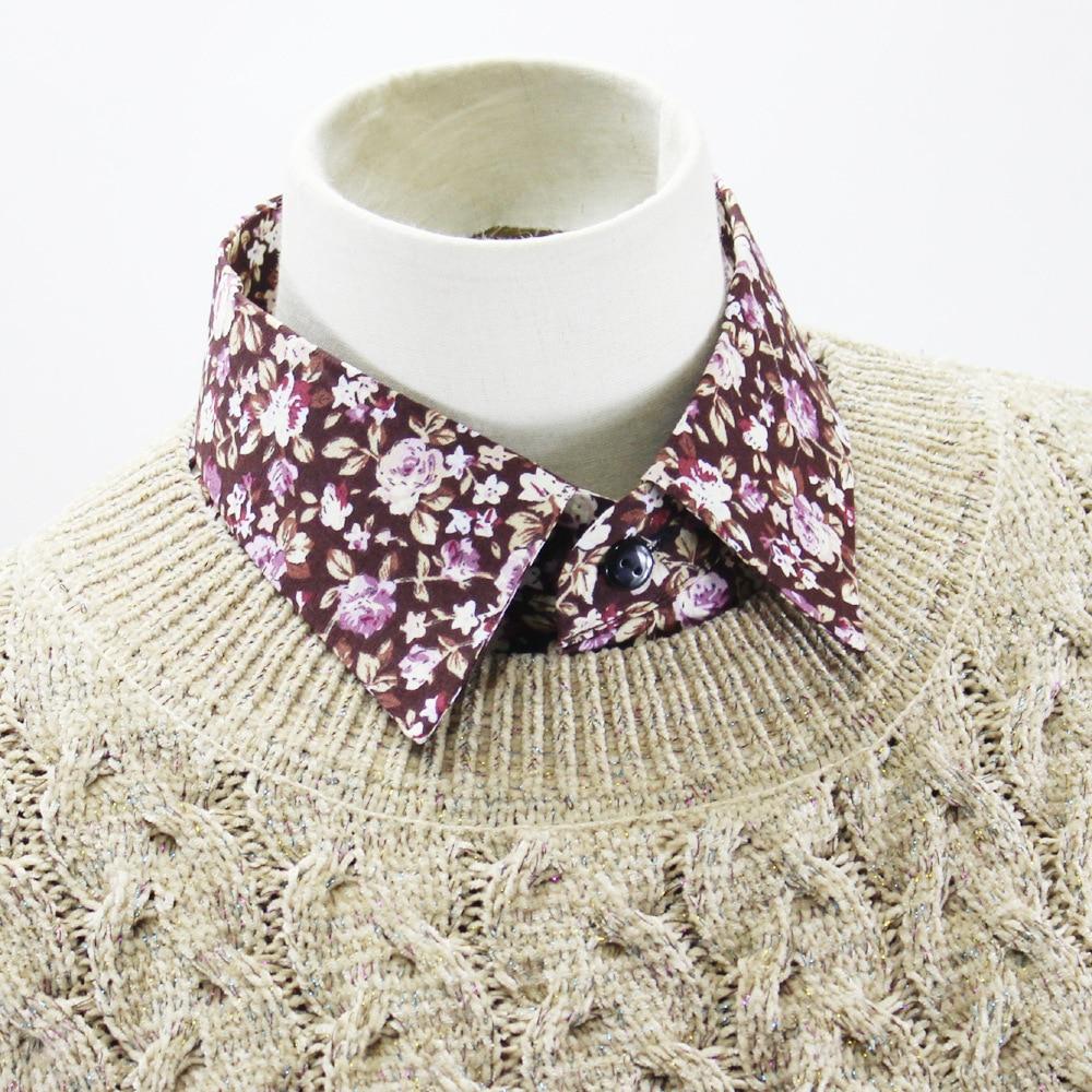 2019 Jaderic Fashion Sweet Printing Floral Fake Collar For Women Peaked Lapel Detachable Collar Girls False Collars