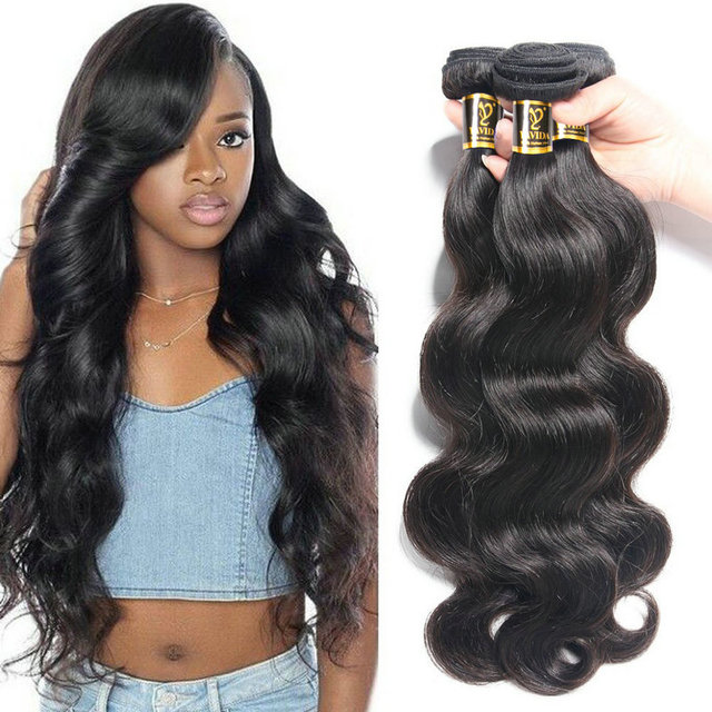 Yavida Indian Hair Body Wave Hair Bundles Natural Color 100% Human Hair Weave Bundles  Non-Remy Hair Extension 1/3 Piece