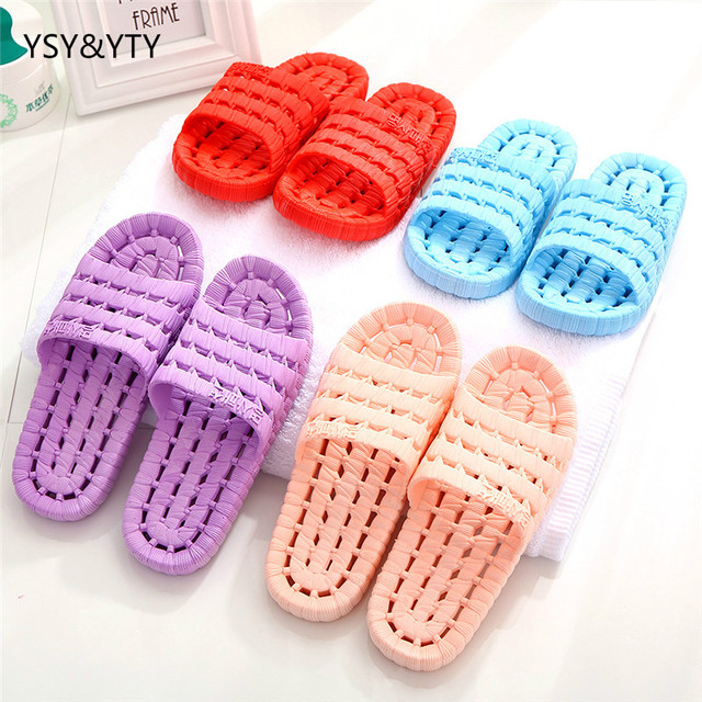 e4728016adc03e 2019 Bathroom slippers men and women summer couple home indoor anti-skid  hollow leak water bath plastic floor cooler slippers