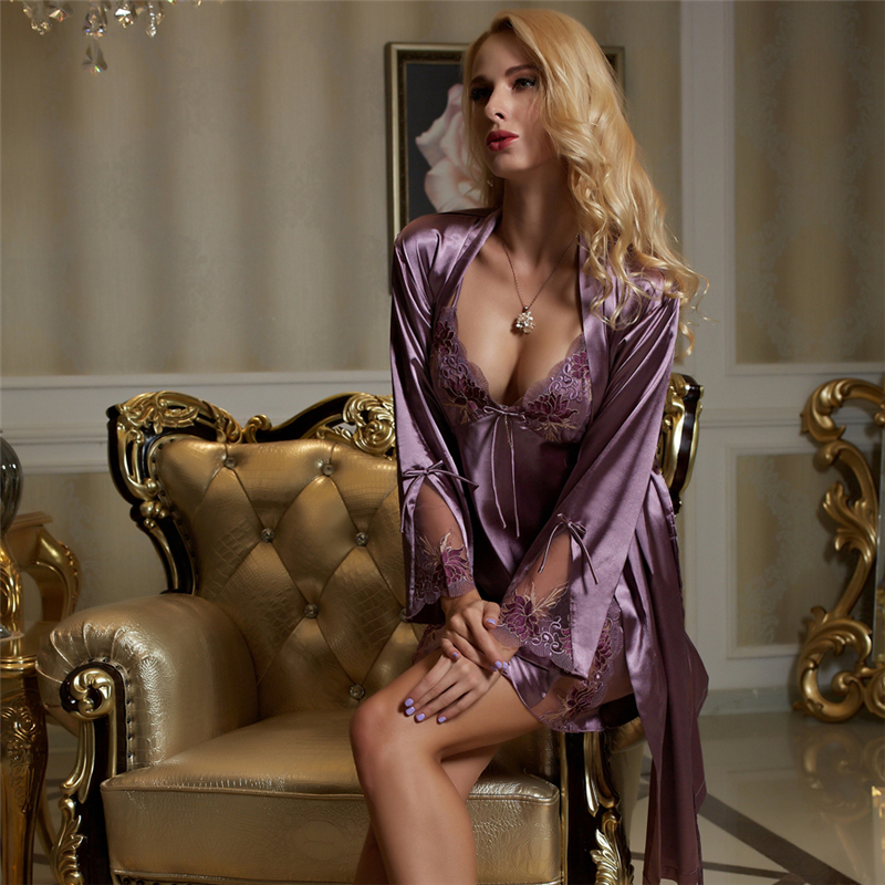 Xifenni Faux Silk Bathrobe Woman Two-Piece Sleepwear Female Sexy V-Neck Embroidery Robes Nightdress Sets Ancient Purple F1528