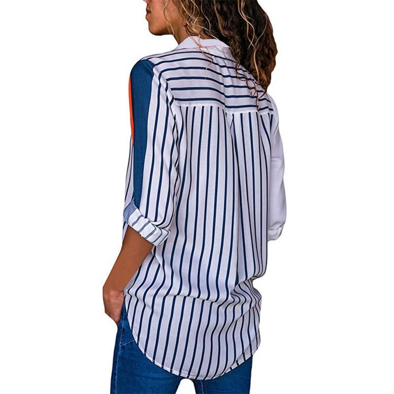 Women Blouses Fashion Long Sleeve Turn Down Collar Office Shirt Leisure Blouse Shirt Casual Tops 35