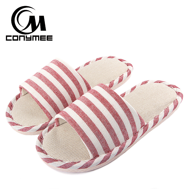 CONYMEE Summer Women's Slippers 2018 Linen Casual Shoes Men Women Indoor Home Slipper Flax Sandals Flip Flops Striped Slides the prince and the pauper