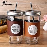 Arshen Grote Promotie! 700 ml Transparante Blik Jar Glas Sap Koud Drankje Waterfles Met 304 Rvs Stro 2 Kleur