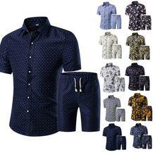 Hot Summer Men Printed T-shirt + Shorts Decorative Pattern Two Piece Sets Plus Size  MSK66