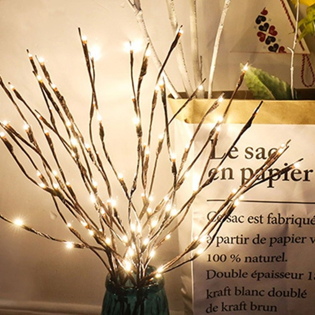 20 Led Branch Lights Fairy Decorative Night Light Willow Twig Lighted Lamp Luminous Home Room