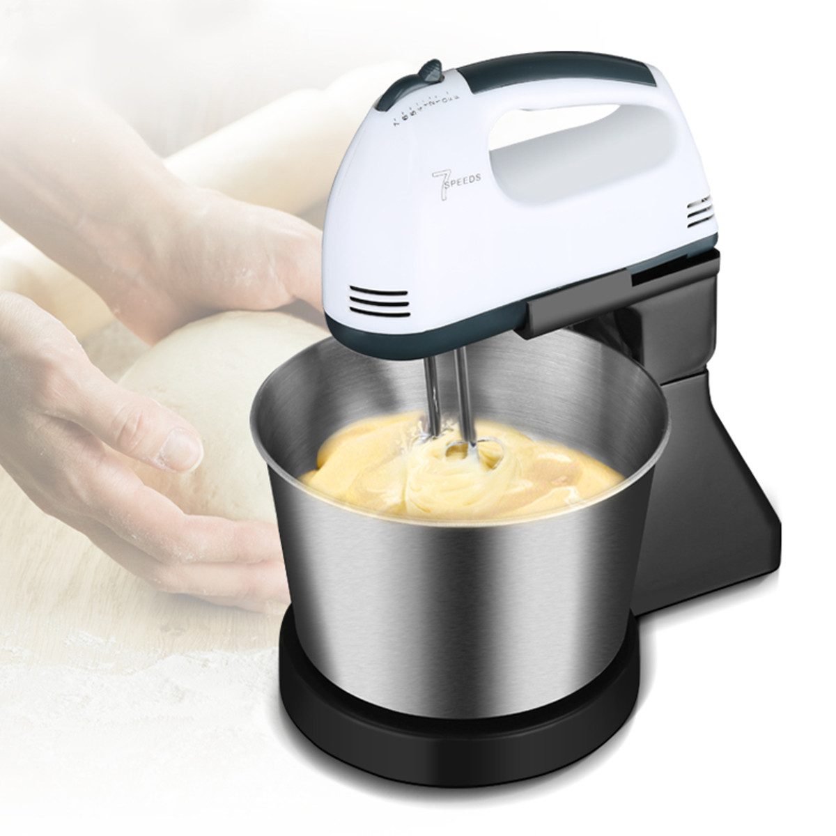Multifunction Table Electric Food Mixer Table Handheld Egg Beater Blender For Baking With 7 Speed Automatic Whisk EU Plug jiqi multifunction table electric food mixer table handheld egg beater blender for baking with 7 speed automatic whisk eu usplug