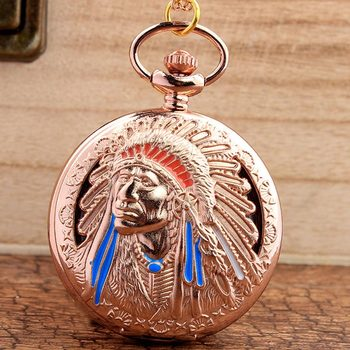 Retro Hollow Indian People Quartz Pocket Watch With Chain Pendant Fob Clock Red Copper Gifts Sets For Mens Womens