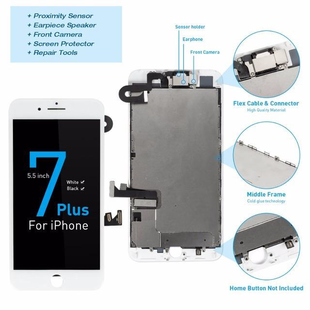 """For iPhone A1661 A1784 A1785 Complete Screen For iPhone 7 Plus LCD Display 5.5"""" full Set Digitizer Assembly with Camera Speaker"""