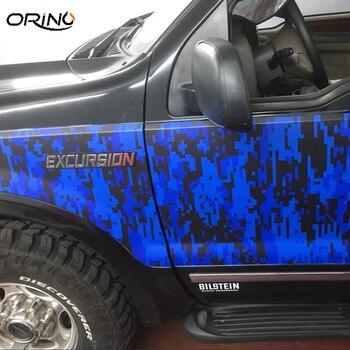High Quality Black Blue Vinyl Film Digital Car Sticker Wrap Air Bubble Blue Pixel Camouflage Vinyl Vehicle Motorbike Decal Foil