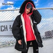 MOJONOO Korean Elegant Long Winter Jacket Women With Fur Hood Autumn Parkas 2017 Loose Warm Parkas Coat Manteau Femme Hiver