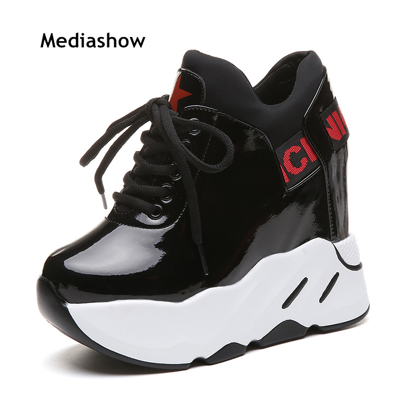 New 2019 Spring Autumn Fashion Ladies Platform Shoes Women Patent Leather Shoes Casual Sneakers White Black
