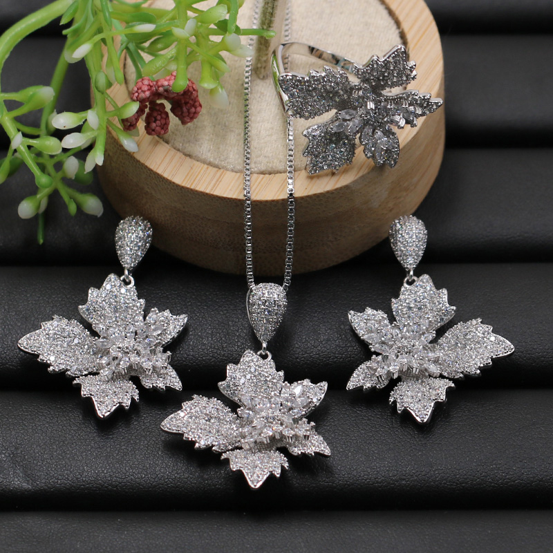 Lanyika Jewelry Set Chic Maple Leaf Micro Paved Cubic Zircon Necklace with Earrings and Ring for Wedding Best Bridal Gift-in Jewelry Sets from Jewelry & Accessories    1