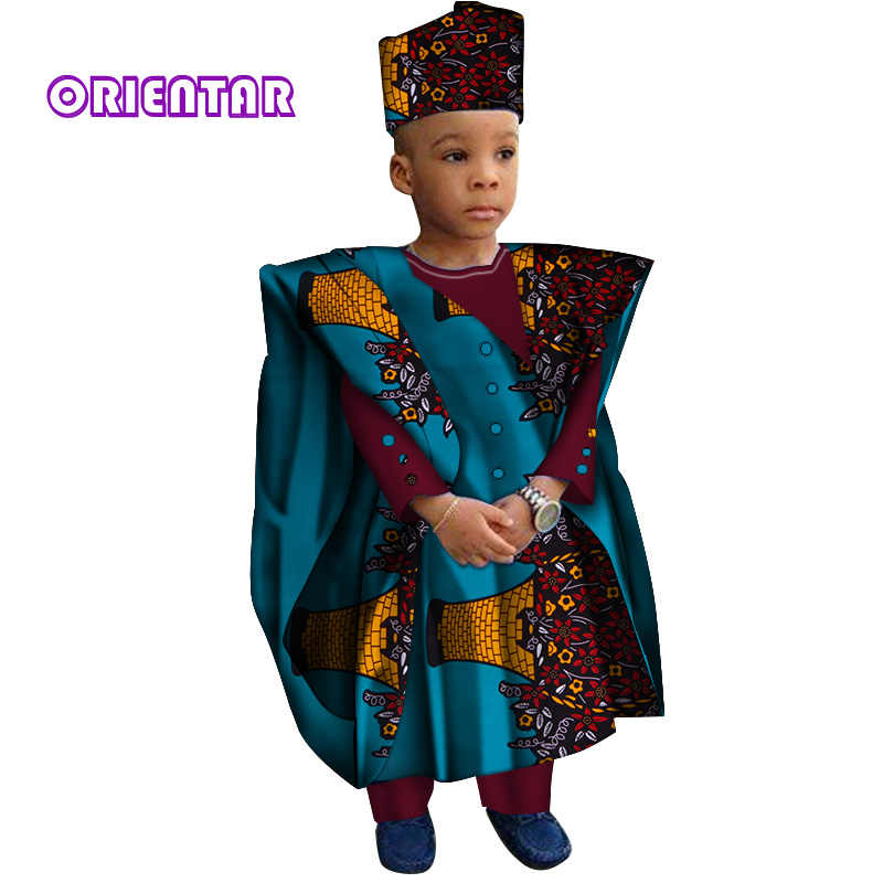 ff0d205ca5e African Clothes with Head Scarf Kids Boy Tops and Pants African Print Long  Sleeve Shirt Children