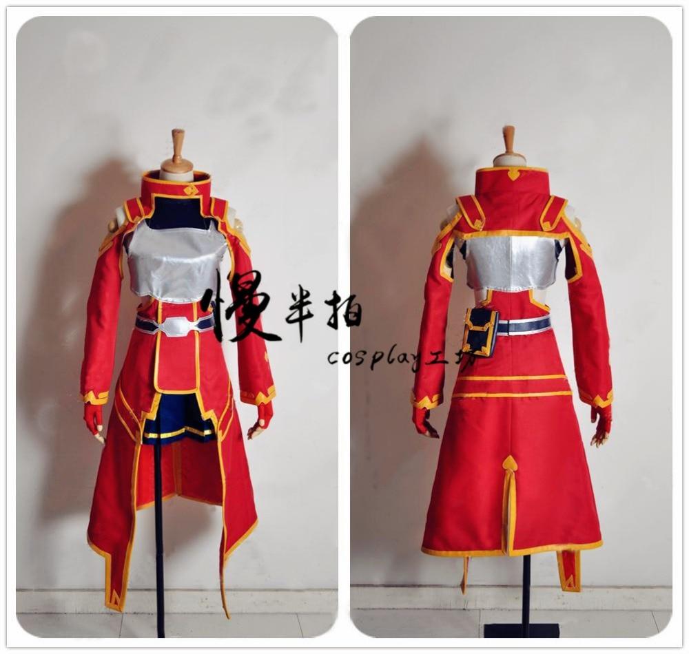 446b4bf73e 2016 SAO Espada de Arte Em Linha Silica Keiko Ayano Vermelho Uniforme  Outfit Vestido Anime Cosplay Halloween Para As Mulheres Meninas