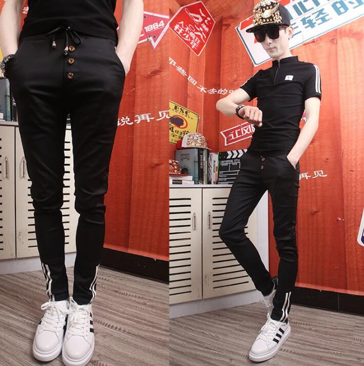 Casual personality fashion elastic harem pants mens trousers pantalones hombre cargo feet pants for men pantalon homme korean