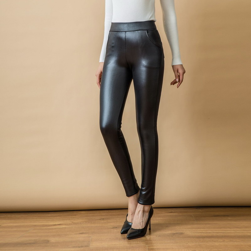 WAEOLSA Women Black PU Leather Leggings Thicken Fleece Legging Woman Slim Fit Warm Pant Winter Autumn Elastic Waist Leggins Muje in Leggings from Women 39 s Clothing