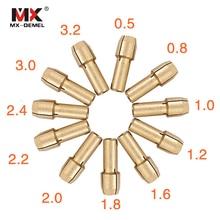 MX-DEMEL 11 штук мини-дрель латуни цанговый патрон для принадлежностей для вращающихся инструментов Dremel 0,5/0,8/1,0/1,2/1,6/1,8/2,0/2,2/2,4/3,0/3,2 мм Мощность инструмент