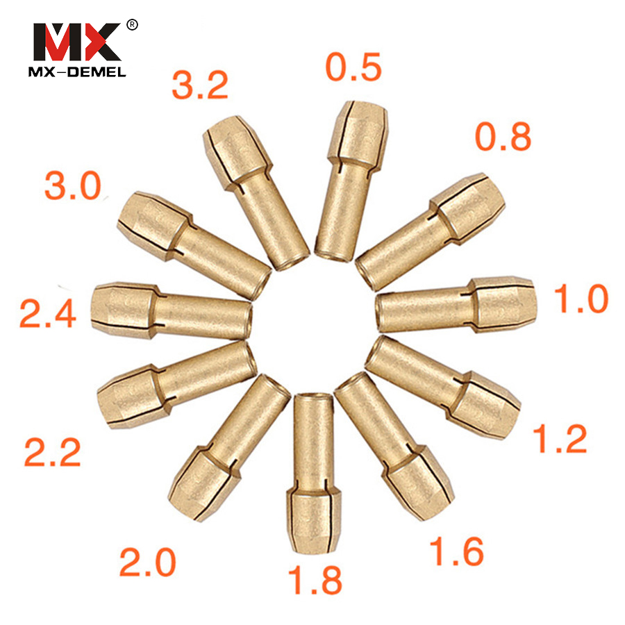 MX-DEMEL 11 Pieces Mini Drill Brass Collet Chuck for Dremel Rotary Tool 0.5/0.8/1.0/1.2/1.6/1.8/2.0/2.2/2.4/3.0/3.2mm Power Tool