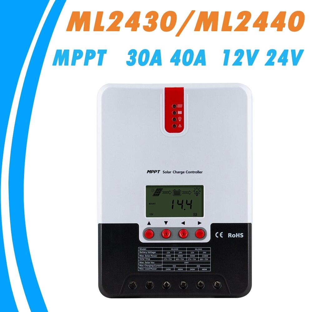 MPPT Controlador Solar Carregador e Descarregador 40A 30A LCD Max 100 V Painel Solar Regulador com Dissipador de Calor para o Chumbo gel de ácido Li-ion