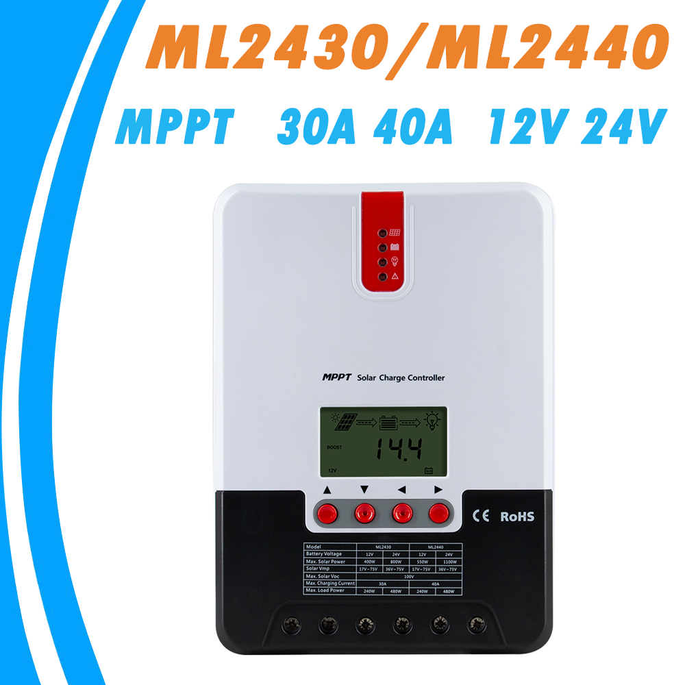 MPPT Solar Charger and Discharger Controller 40A 30A LCD Max 100V Solar Panel Regulator with Heat Sink for Lead Acid Gel Li-ion