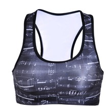 NEW 0024 Summer Sexy Girl Women Mixed music score 3D Prints Padded Push Up Gym Vest Top Chest Running Sport Yoga Bras