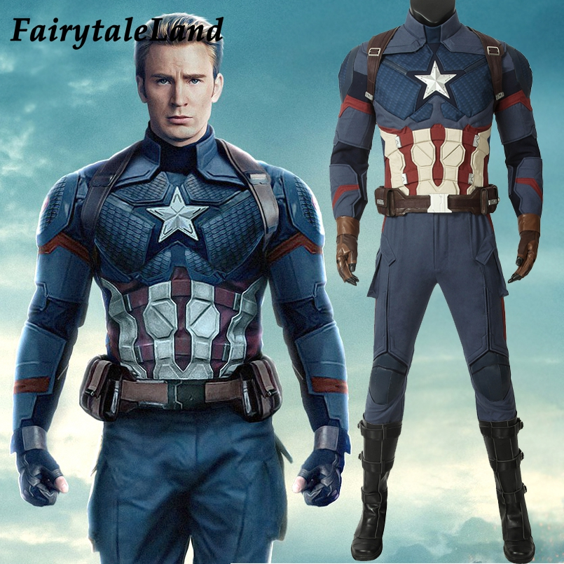 Avengers Endgame Captain America Cosplay costume full set Outfit Captain America Steve Rogers Jumpsuit free shipping custom made