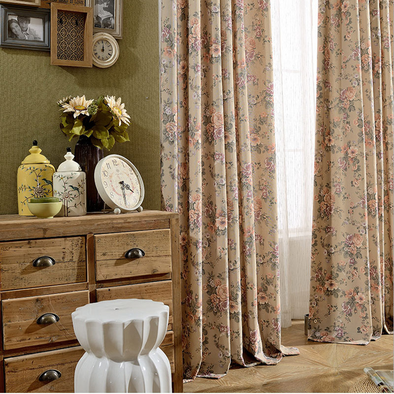 3 Piece Faux Cotton Espresso Brown Kitchen Window Curtain: Vintage Pastoral Window Curtain Design Polyester Cotton