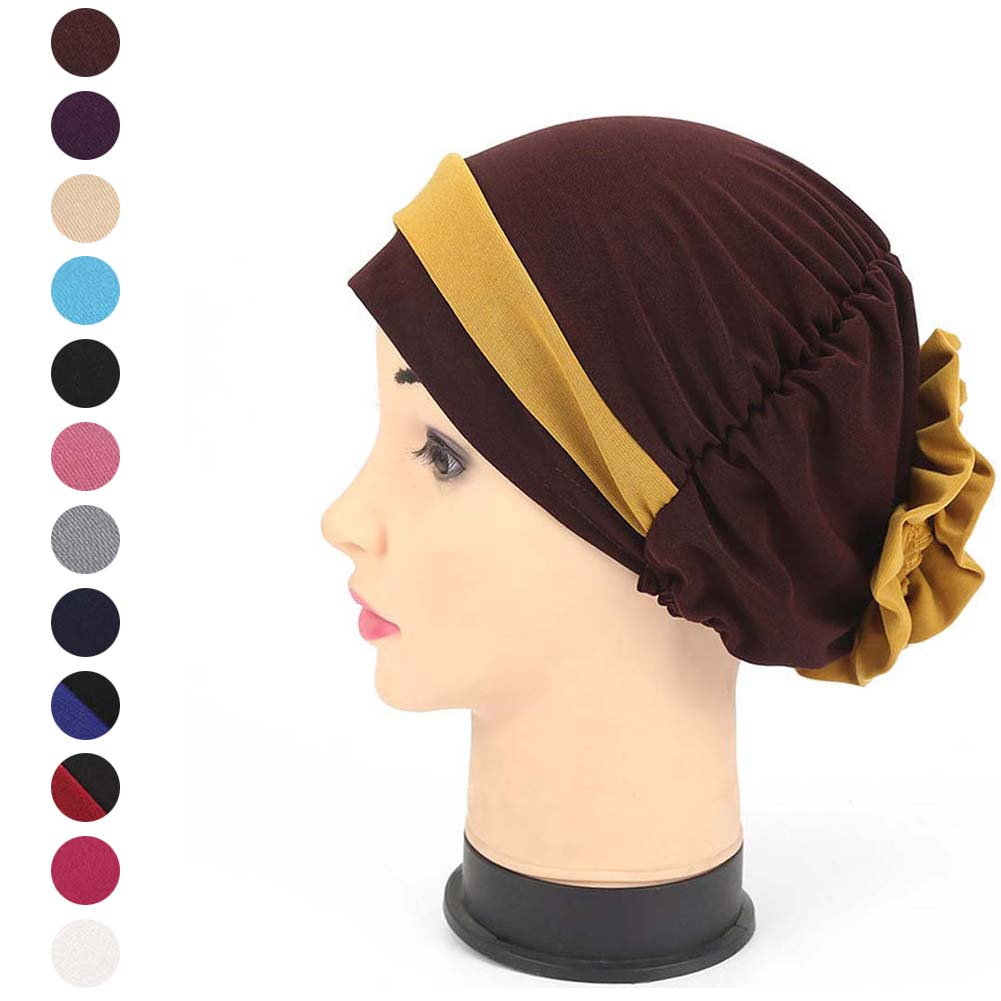 Humor Fashion Women Cap Muslim Hijab Autumn Winter Headscarf With Back Flower Headwear For Chemo Demand Exceeding Supply Islamic Clothing Novelty & Special Use