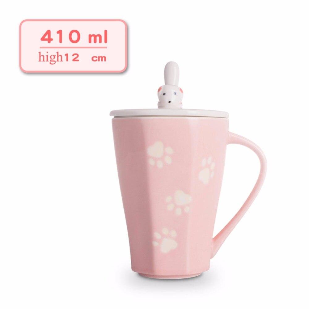 Handmade Ceramic cup Coffee Mugs Tea Cup Drinkware -Puppy Footprint Mugs Lid and Spoon Creative Dairy Gift Box