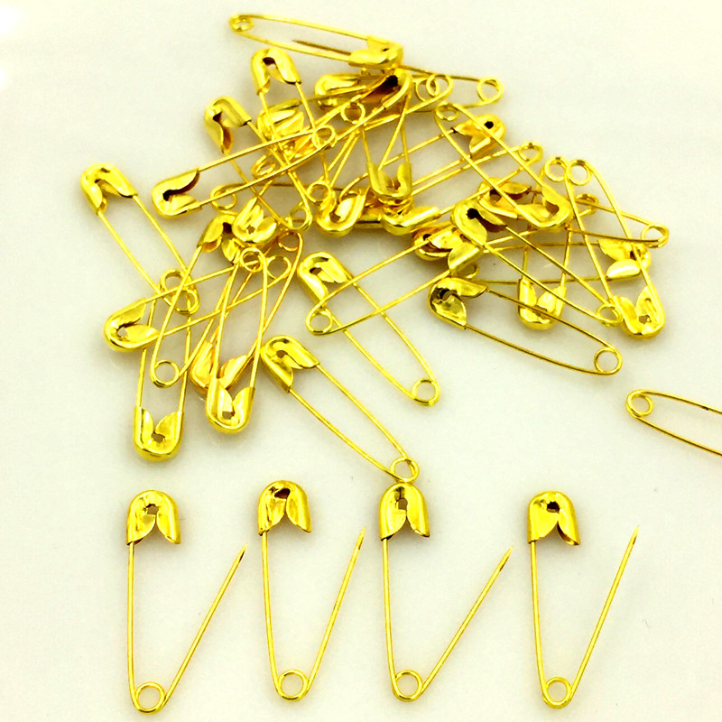 1500Pcs Gold Color Alloy Safety Pins Brooches Crafts Scrapbook Sewing DIY Findings 22mm