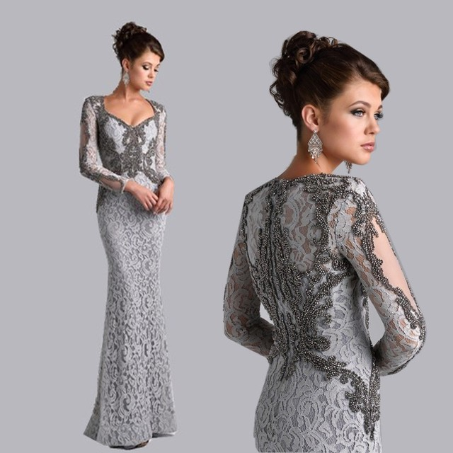 2017 Mãe De Prata Dos Vestidos de Noiva Sereia Com Decote Em V de Mangas Compridas Rendas Frisado Mãe Vestidos Vestidos de Noite Para Casamentos