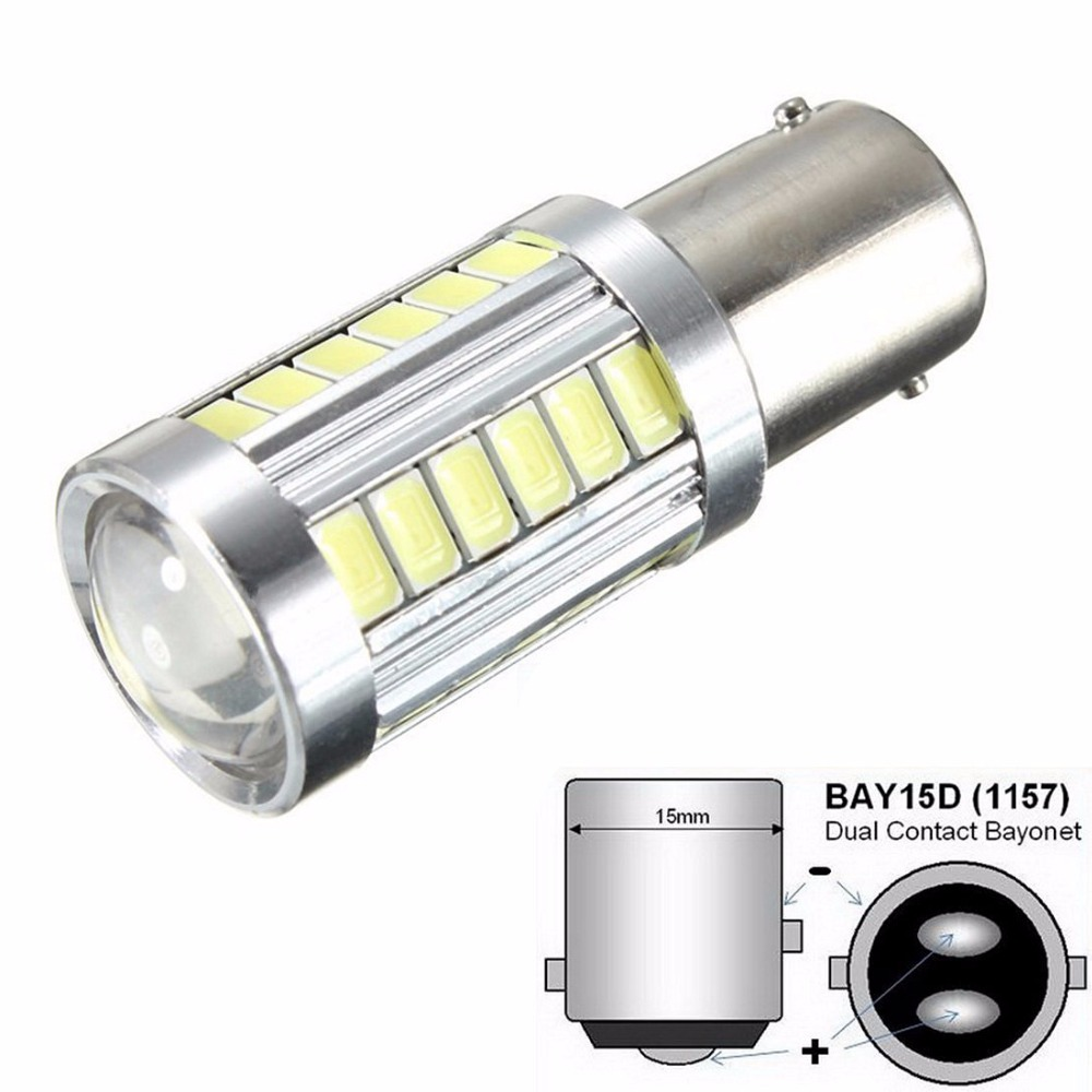 1pcs 1157 BAY15D 5630 33-SMD White 900 Lumens 8000K Super Bright LED Turn Tail Brake Stop Signal Light Lamp Bulb 12V 3.6W