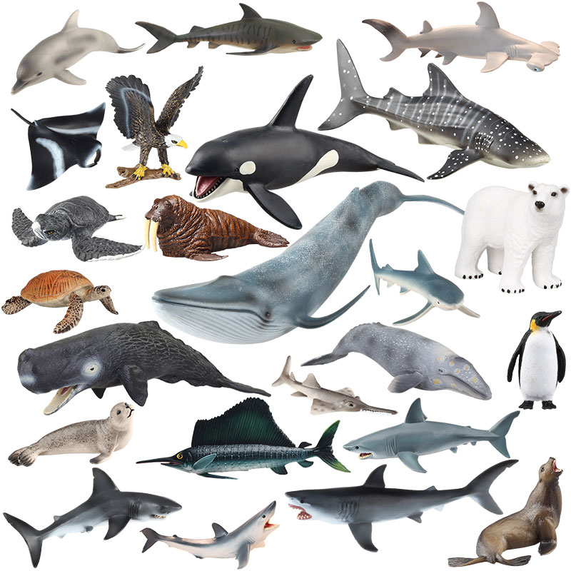 Original genuine series 20pcs sealife family animals Unicorn Whale tiger jaw shark killer humpback whale kids toy gift image