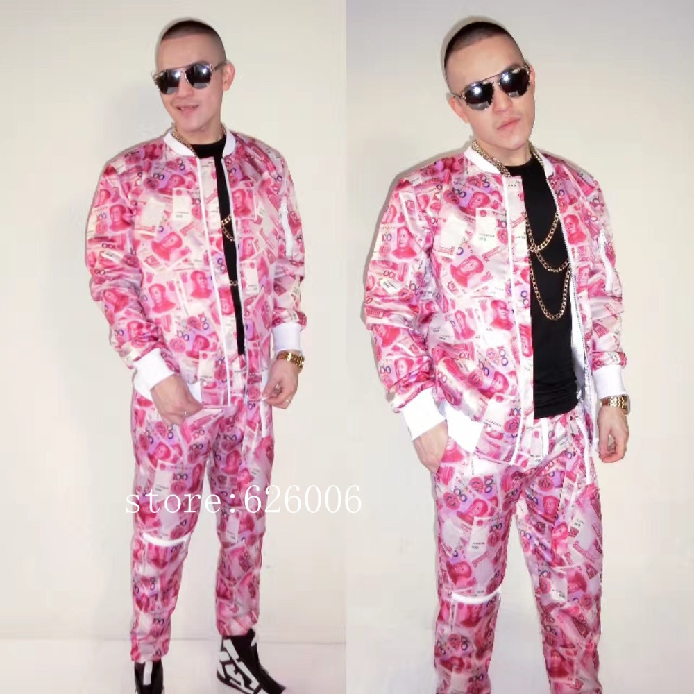 Novelty Fashion Men's Props RMB money Jacket Suits Costumes Nightclub male singer DJ party show stage performance wear