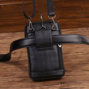 Image 4 - Bolsa de cintura masculina crossbody fanny bolsa de couro genuíno moda celular caso do telefone móvel mensageiro bolsa de ombro masculino cinto gancho pacote