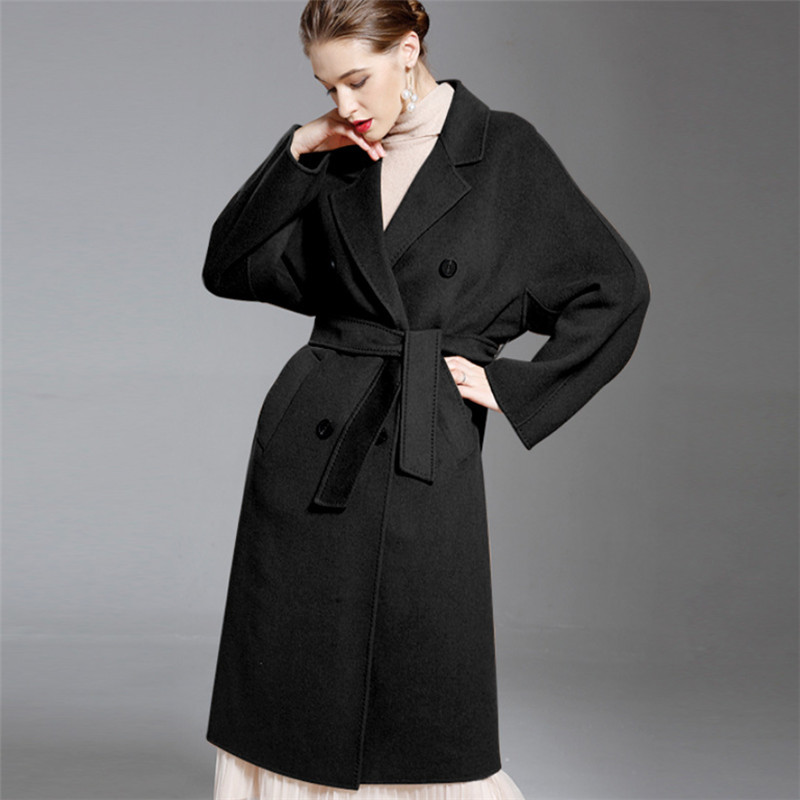 39deb1db6866 0 0 Lady Double breasted Woolen Trench Coat Double Side Cashmere ...