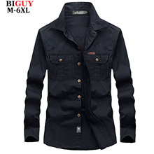 4XL 5XL 6XL Plus Size Male Shirts Spring Cotton Casual Men Shirts Long Sleeve 2016 Vintage military style Mens Cargo Shirts 551