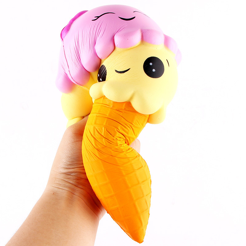 Jumbo 22CM Cartoon Double Smiley Face Ice Cream Squishy Slow Rising Sweet scented Charms Food rebound Bread Kid Toys T2
