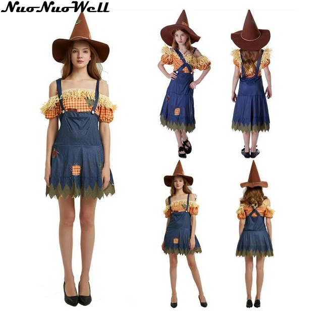 New Arrival Girls Christmas Party Halloween Scarecrow Costume Women Witch Skirt Cosplay Costume One Piece