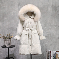White Duck Down Fur Collar Hooded Jacket For Women Cold Winter Warm Big Pocket Puff Sleeve Parka Female Natural Fur Thicken Coat