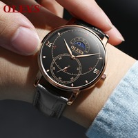 OLEVS Creative Men Watch Water Resistant Mens Watches Black Leather Wrist Watch For Man Gift Famous Male Clock Moon Phase reloj