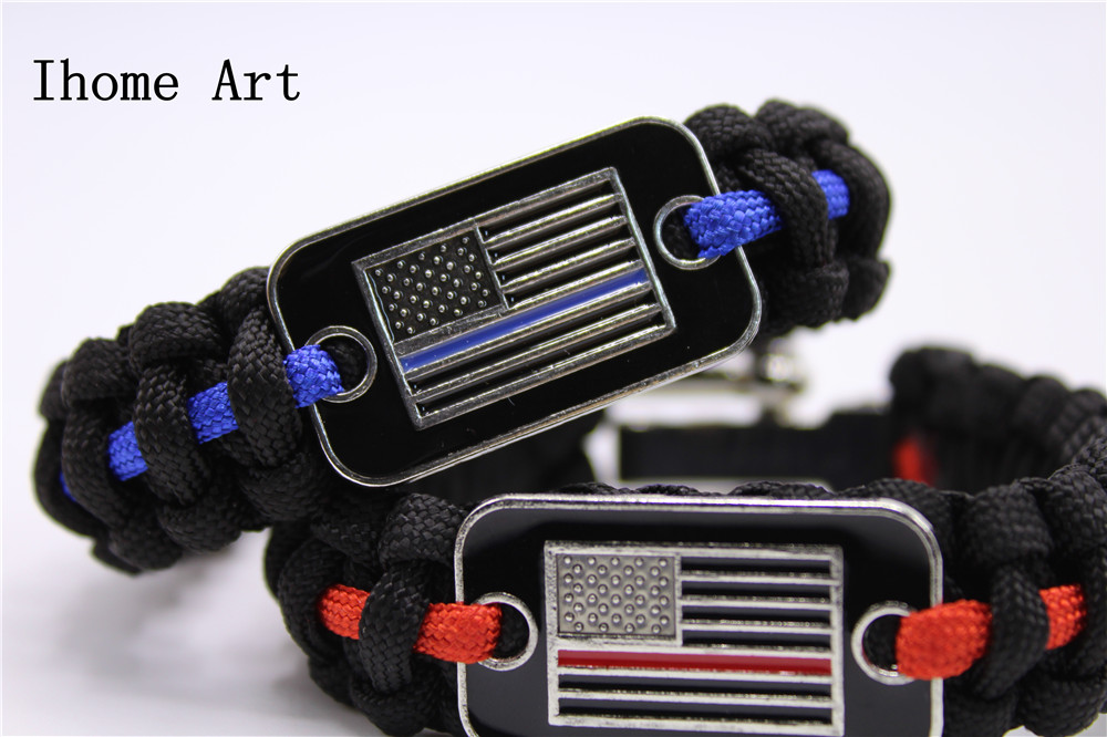 Thin Blue Line Usa Flag Police Paracord Bracelet Support Lives Thin Red Line Us America Flag Paracord Survival Armband Bangle Apparel Sewing & Fabric