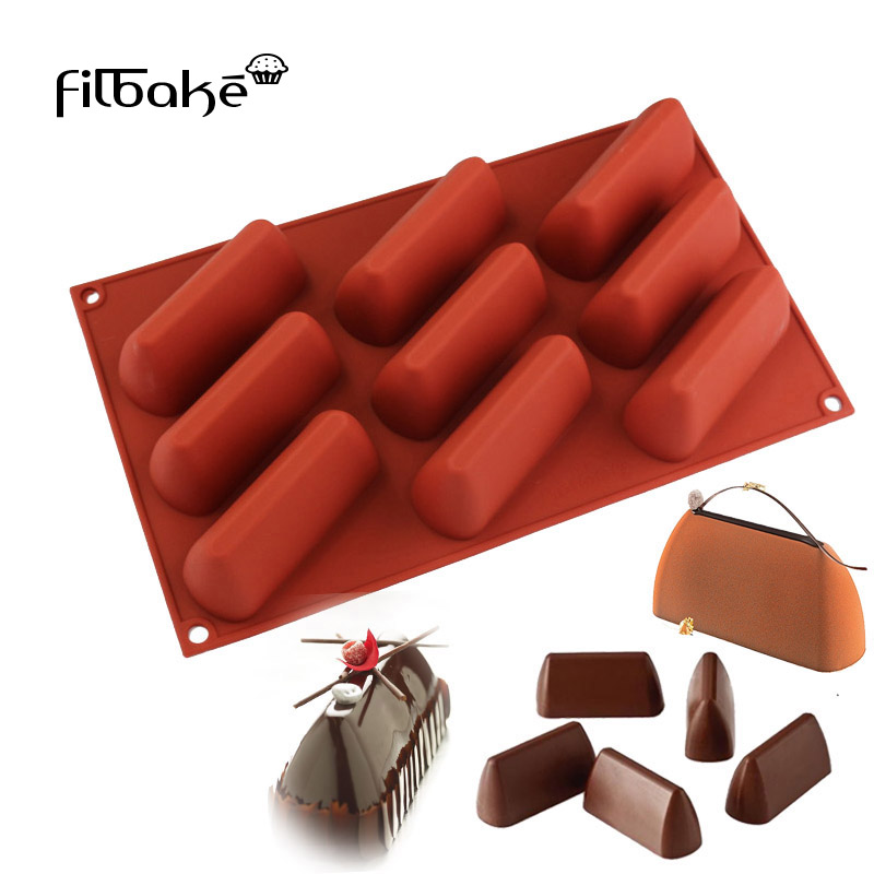 FILBAKE Baking Decorating Toos 3D 9 Cavity Rektangel Hill Shaped Cake Mould DIY Petite Loaf Silikon Mögel För Muffin, Choklad