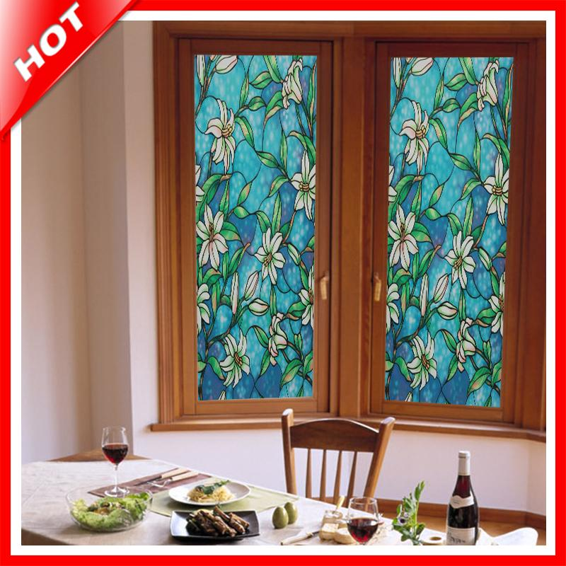 brand new high quality hot 45x100cm orchild privacy window film decorative stained glass window film stained - Window Film Decorative